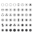 various screw heads silhouette set vector image vector image