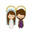 virgin and joseph family cartoon vector image vector image