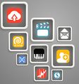 Web media icons in square blocks vector image