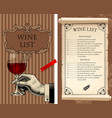 wine list with hand holding a wineglass and old vector image vector image