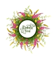 summer round banner with flowers vector image