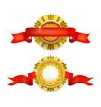 blank golden award medal with ribbon vector image