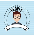 people person emblem connection vector image