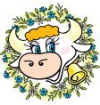 a good cow in flowers vector image vector image