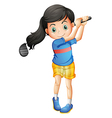 A young girl playing golf vector image vector image