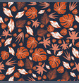 abstract color orange leaves seamless pattern vector image vector image