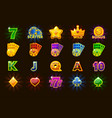 big set gaming icons of card symbols for slot vector image vector image