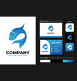 blue fish logo design inspiration vector image vector image