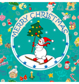 Christmas card over pattern vector image vector image