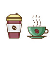 coffee in cup and beverage to go icons vector image vector image