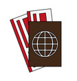 color image passport and air tickets vector image