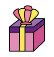 color present gift box with crown accessory vector image vector image