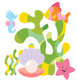 Cute sea characters composition vector image vector image