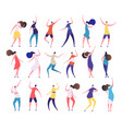dancing people cartoon stylish men and women vector image