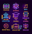 education neon label set vector image vector image