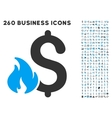 Financial Fire Icon with Flat Set vector image vector image