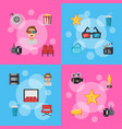 flat cinema icons infographic concept vector image vector image