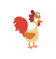 funny angry hen comic cartoon chicken bird vector image