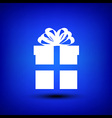 Gift box white on blue vector image vector image