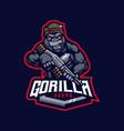 gorilla cartoon mascot vector image
