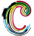 Grunge colorful font Letter c vector image vector image