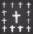 grunge hand drawn cross symbols set christian vector image vector image