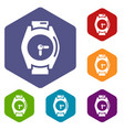 hand watch icons hexahedron vector image