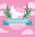 international day peace lettering with dove vector image vector image