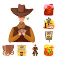 isolated object wild and west icon set wild vector image vector image
