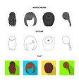 kara red braid and other types of hairstyles vector image vector image