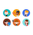 kids character with various objects in flat vector image