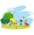 Kids playing in the garden vector image vector image