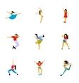 Kind of dances icons set flat style