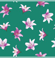 lily flowers seamless pattern green background vector image vector image