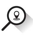 magnifying glass with pointer icon vector image vector image