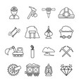 mining minerals business icons set outline style vector image vector image