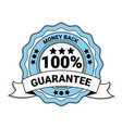 money back with 100 percent guarantee emblem blue vector image vector image