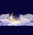 muslim golden crescent in clouds with stars vector image