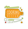original cooking logo design with cutting board vector image vector image