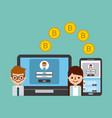 people transfer bitcoin digital online banking vector image