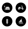 public transport glyph icons set vector image