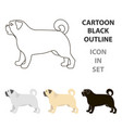 pug icon in cartoon style for web vector image vector image