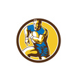 Rugby Player Running Goose Steps Circle Retro vector image vector image