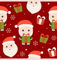 santa and gift box christmas seamless pattern vector image vector image
