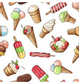 seamless pattern with chocolate ice cream and vector image vector image