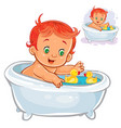 small child take a bath with a rubber duck vector image