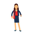smiling businesswoman cartoon character in a blue vector image vector image
