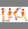soccer male player playing in different vector image