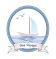 summer holiday travel sign sailboat in sea view vector image