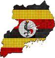 Uganda map with flag inside vector image